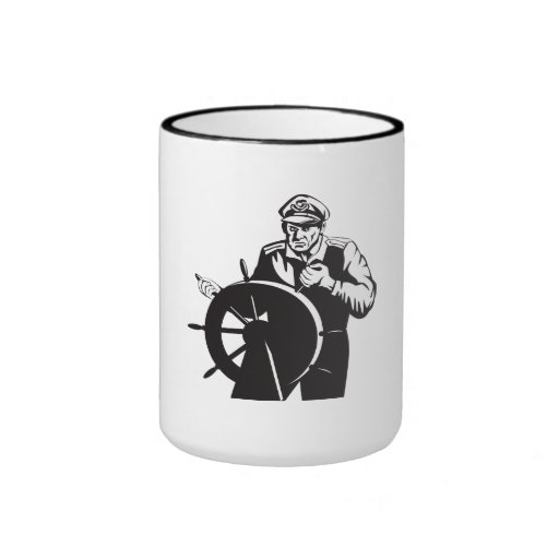 Fisherman Sea Captain At Helm Retro Coffee Mug