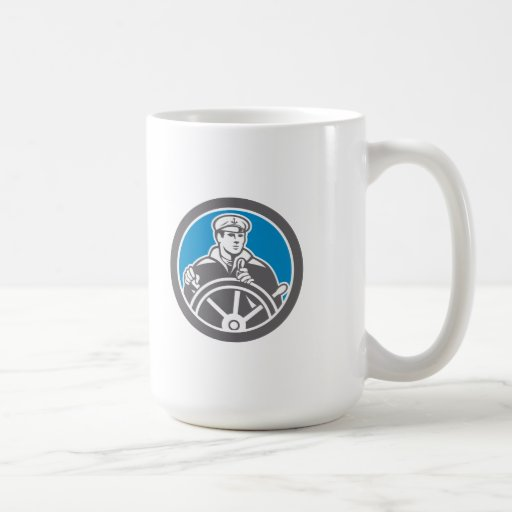 Fisherman Sea Captain Circle Retro Coffee Mugs