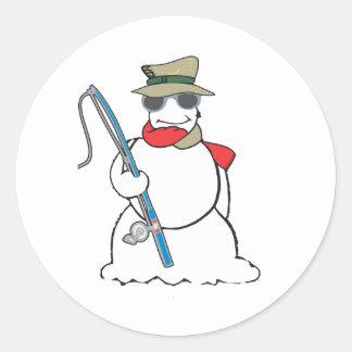fisherman snowman classic round sticker
