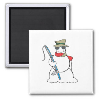 fisherman snowman square magnet