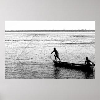 Fisherman Throwing Net, Amazon River Poster