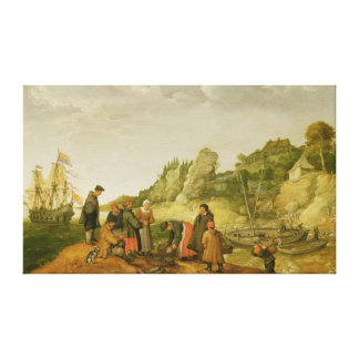 Fisherman unloading and selling their catch canvas print