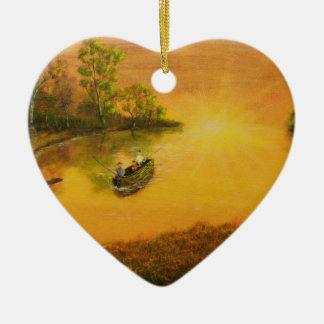 """Fisherman's Alley"" by Jack Lepper Ceramic Heart Decoration"