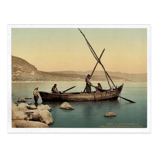 Fisherman's boat on the lake, Tiberias, Holy Land, Postcard