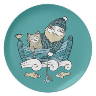 Fishermans Cat Decorative Plate