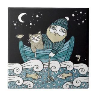 Fishermans Cat Decorative Tile