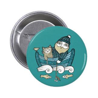 Fishermans Cat Pin Badge