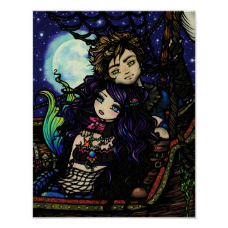 """Fisherman's Catch"" Pirate Mermaid Fantasy Art Poster"