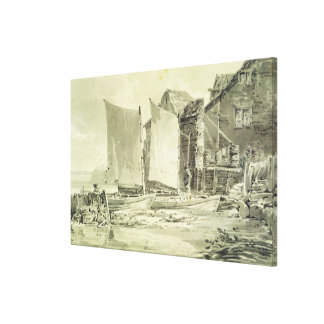Fisherman's Cottage, Dover, 1790s (pencil & grey w Canvas Print