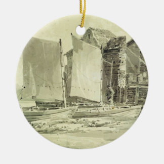 Fisherman's Cottage, Dover, 1790s (pencil & grey w Round Ceramic Decoration