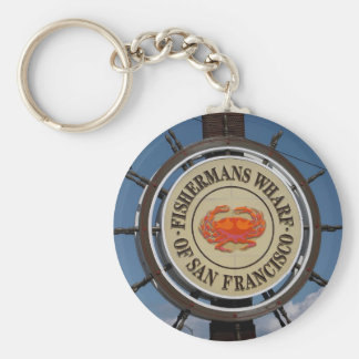 Fisherman's Wharf Sign Basic Round Button Key Ring