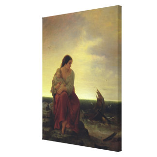 Fisherman's Wife Mourning on the Beach Canvas Print