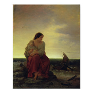 Fisherman's Wife Mourning on the Beach Poster