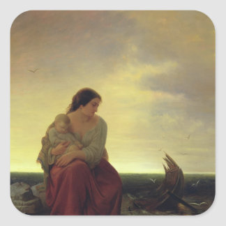 Fisherman's Wife Mourning on the Beach Square Sticker