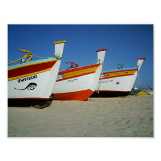 Fishermen boats at Algarve beach Poster