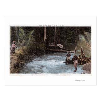Fishermen Fishing at Commonwealth Creek Postcard