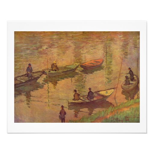 Fishermen fishing river Seine at Poissy by Monet Full Color Flyer
