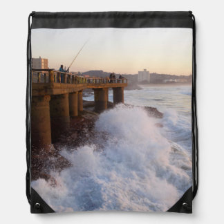 Fishermen On Pier, Margate, South Coast Drawstring Bags