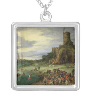 Fishermen on the Shore Silver Plated Necklace