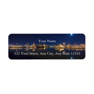 Fishermen's Terminal at Night in Ballard, Seattle Return Address Label