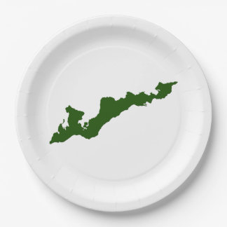 Fishers Island Logo Paper Plates – Green 9 Inch Paper Plate