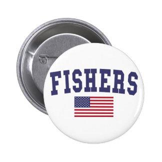 Fishers US Flag 6 Cm Round Badge
