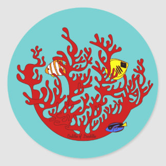 Fishes and Coral Doodle Art Sticker