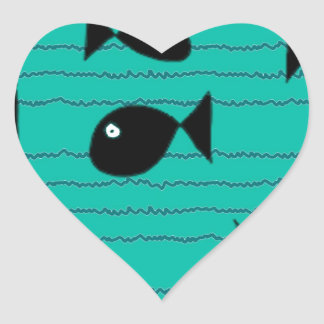 Fishes and reeds heart sticker