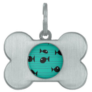 Fishes and reeds pet name tag