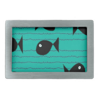 Fishes and reeds rectangular belt buckles