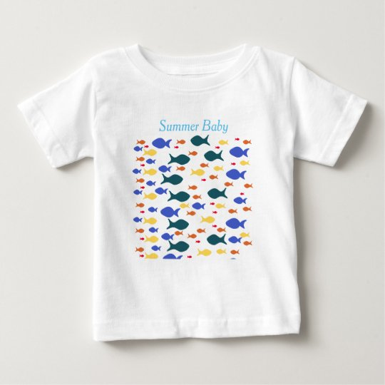 Fishes Baby Fine Jersey T-Shirt, White Baby T-Shirt