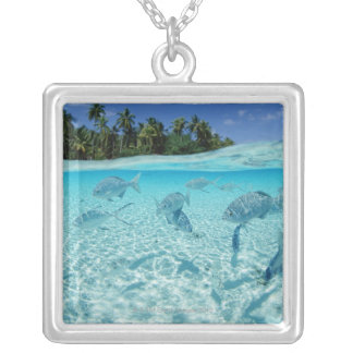 Fishes in the sea silver plated necklace