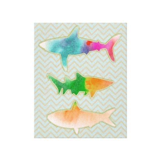 Fishes on zigzag chevron - mono stretched canvas prints