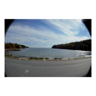 Fisheye View Maine Waterscape Poster