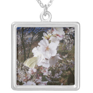 Fisheye view of Butterfly on flower Silver Plated Necklace