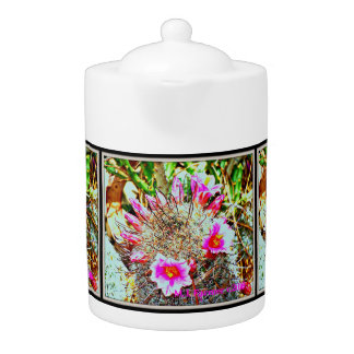 Fishhook Cactus with Pink Blooms Tea Pot