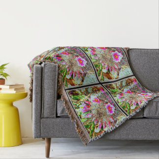 Fishhook Cactus with Pink Blooms Throw Blanket