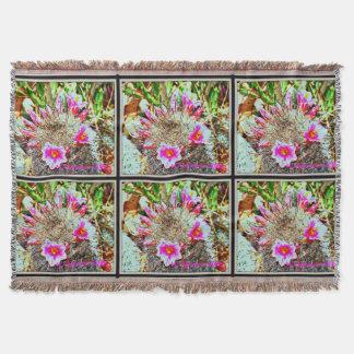 Fishhook Cactus with Pink Blooms Throw Blanket