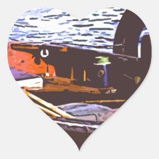 fishin boat heart sticker