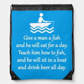 Fishing and Beer - Sarcastic Zen Phrase Drawstring Bag