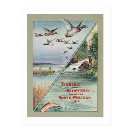 Fishing and Hunting Along the North Western Line Postcard