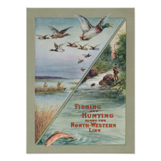 Fishing and Hunting along the North-Western Line Poster