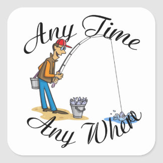 Fishing any time square sticker