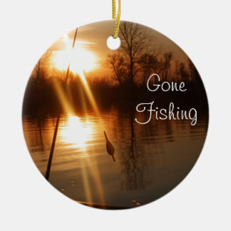 Fishing At Sunset Christmas Ornament