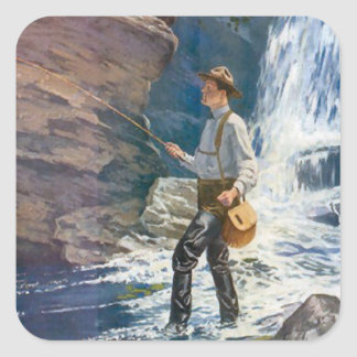 Fishing at the base of the waterfall square sticker