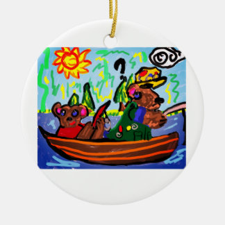 fishing bears art round ceramic decoration