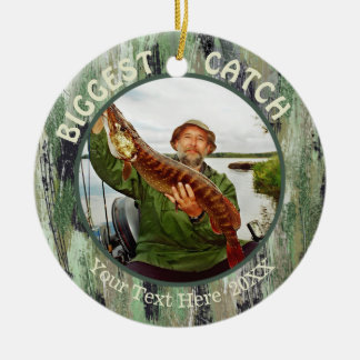Fishing BIGGEST CATCH, Two Photo Christmas Ornament