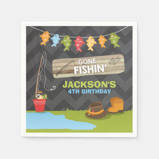 Fishing Birthday Paper Napkin Boy Wood Reeling