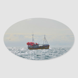 Fishing Boat Amanda Jane Oval Sticker