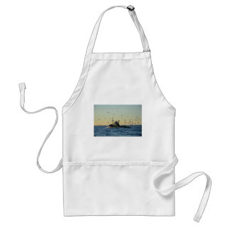 Fishing boat and a flock of gulls. standard apron